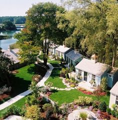 Cute cottage compound... The Cabot Cove Cottages in Kennebunkport Maine: http://beachblissliving.com/cabot-cove-cottage-kennebunkport-maine/