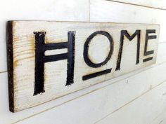 Large HOME Sign  40 x 10 Carved in a Cypress by AmericanaSigns