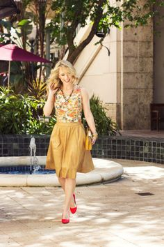 Miami Beauty Girl is stunning in a tank & skirt from Nordstrom Rack
