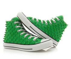 Converse Studded Chuck Taylor Custum Converse High Top Green Shoes Green Stud | eBay