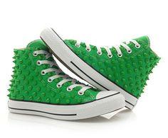 Converse Studded Chuck Taylor Custum Converse High Top Green Shoes Green Stud | eBay