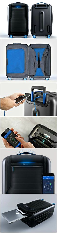 The Bluesmart has a connected app that lets you lock and unlock it, weigh it, track its location, be notified if you are leaving it behind and find out more about your travel habits. It even lets you charge your phone and tablet. Future Gadgets, New Gadgets, Gadgets And Gizmos, Cool Gadgets, Kitchen Gadgets, Cool Technology, Technology Gadgets, One Suitcase, Cool Electronics