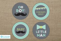 Little Man Baby Shower - Mustache cupcake toppers - Little Man Printable - Bow Tie printable - Mustache party - Baby Sprinkle - Boy Baby