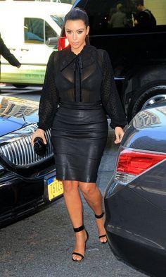 Celine black calf velvet Mulese sandals, Kardashian Kollection Sheer Dotted Blouse, Monika Chiang Leather Pencil Skirt,