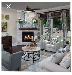 Small Living Room Layout, Small Living Room Furniture, Small Living Rooms, Living Room Chairs, Home Living Room, Home Fireplace, Living Room With Fireplace, Fireplace Ideas, Corner Fireplaces