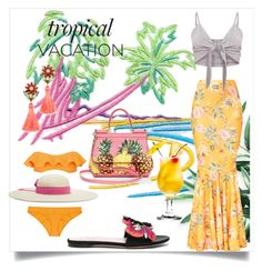 """Welcome to Paradise: Tropical Vacation"" by kari-c ❤ liked on Polyvore featuring Dolce&Gabbana, Lisa Marie Fernandez, Sensi Studio, Valentino, Elizabeth Cole and TropicalVacation"