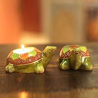Beautiful handmade soapstone candleholders in the shape of green lotus turtles. From India, with love