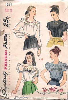 """Vintage 1946 Simplicity 1671 Back Buttoned Embroidered Blouse Sewing Pattern Size 16 Bust 34"""" by Recycledelic1 on Etsy"""