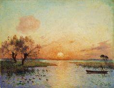 The Pond at Sunset- Ferdinand du Puigaudeau (1864-1930) French Impressionist Painter