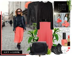 """""""Street style with a Coral pleated skirt ..."""" by firstclass1 ❤ liked on Polyvore"""