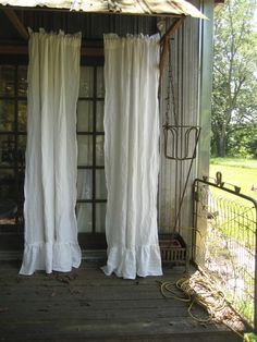 Pair of Ruffled Vintage White Washed Linen Curtains-Rod Pocket Ruffled Curtains-Unlined Curtains-Romantic Ruffled Curtains-Ruffled Panels by cottageandcabin on Etsy https://www.etsy.com/listing/238033238/pair-of-ruffled-vintage-white-washed