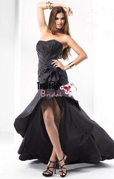 Wholesale free shipping vestido de festa high-low taffeta hot pink prom dress P2673