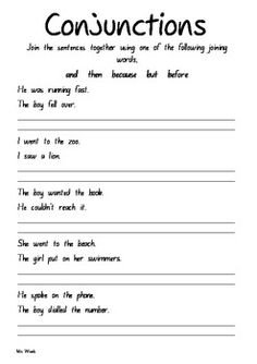 ... more school conjunctions teaching conjunctions conjunction worksheets