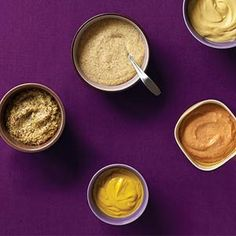 Ballpark Beer Mustard, Hot & Tangy Mustard, Rosemary Thyme Mustard, Cognac Mustard, and Spicy Chipotle Mustard