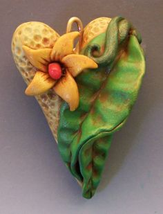 Organic heart by Christi Friesen, polymer clay art