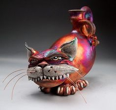 Cat Face Jug Pottery Raku folk art sculpture by Grafton