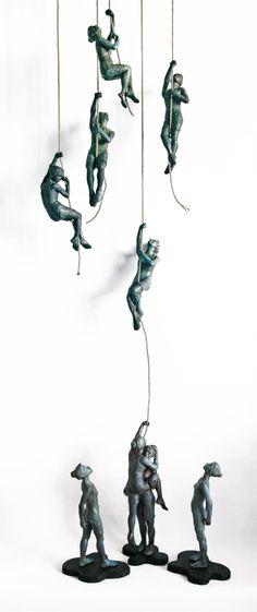 Art Allerlei ~Pin via Dromenvangers-Winkeltje: Eva Larsson~ - Book Sculpture, Wall Sculptures, Ceramic Figures, Ceramic Art, Modern Art, Contemporary Art, Paperclay, Wire Art, Canvas Artwork