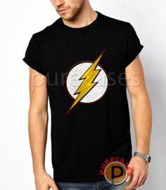 Black T Shirt The FLASH Jay Garrick Justice League Superhero DC Comic Logo Men Tees Tshirt Printing