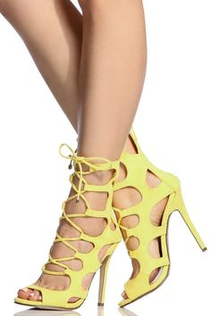 Yellow Faux Suede Lace Up Cut Out Heels @ Cicihot Heel Shoes online store sales:Stiletto Heel Shoes,High Heel Pumps,Womens High Heel Shoes,Prom Shoes,Summer Shoes,Spring Shoes,Spool Heel,Womens Dress Shoes