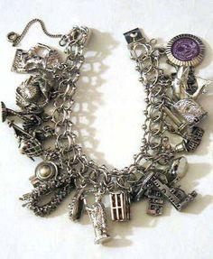 Vintage Sterling Silver Charm Bracelet.  Love Love Charm bracelets