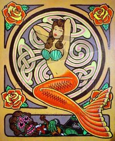 Mermaid tattoo drawing - just the mermaid, not the colors or background