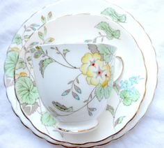 Plant Tuscan England Art Deco jewelled china tea cup saucer side plate trio vgc | eBay