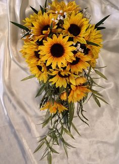 Cascade Bouquet cascading sunflower wedding bouquet