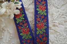 1y Vintage French Jacquard Floral Royal Blue Red Flowers Woven Embroidered Ribbon Sewing Trim Doll Dress Home Decor Shabby Chic Hat Tote