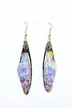Faerie Wing Earrings  Opal Fire  Amethyst by KristenJarvisART