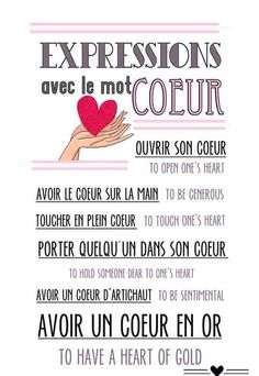 FLE/ Learning French: expressions avec le mot coeur/ expressions with the word heart. French Expressions, French Phrases, French Words, French Quotes, French Sayings, French Teaching Resources, Teaching French, The Words, Learn To Speak French