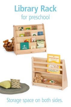 """Anchor the preschool book nook with this graceful book display. There's generous storage on both sides of this 32"""" high shelf, and hidden wheels that flip out when you need to move it. Find the details here. Book Display Shelf, Book Storage, Storage Spaces, Toddler Classroom, Preschool Classroom, Classroom Ideas, Library Shelves, Bookshelves, Preschool Books"""