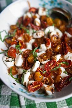 slow roasted tomato caprese salad with balsamic glaze
