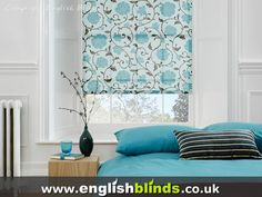 Contemprorary floral blue patterned roller blinds Blinds For Windows, Curtains With Blinds, Valance Curtains, Window Blinds, Blue Roman Blinds, Contemporary Windows, Pelmets, Roller Blinds, Modern Fabric
