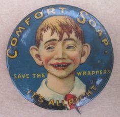 Antique Celluloid Advertising Pinback Button Comfort Soap Mad Magazine 1912 RARE | eBay