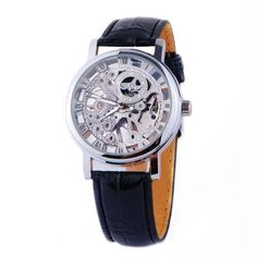 Mens Mechanical Skeleton Watch Hand Wind Up Silver Dial Black Leather Strap MW-07 - http://www.watchesandstuff.com/mens-mechanical-skeleton-watch-hand-wind-up-silver-dial-black-leather-strap-mw-07/