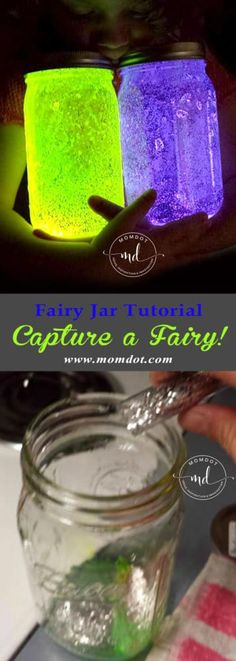 DIY Fairy Jar tutorial, Capture a fairy! Fairy Jar Tutorial: DIY and Capture a fairy! Fairy Glow Jars, Mason Jar Fairy Lights, Mason Jar Lighting, Jar Lights, Fairy In A Jar, Fairy Light Jar, Glitter Mason Jars, Mason Jar Gifts, Mason Jar Diy