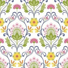 Happy (3876) - Eco Wallpaper Wallpapers - A bold and colourful floral motif shown in blue pink orange yellow and green. This is a paste the wall product. Please request a sample for a true colour match.