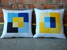 Yellow and blue patchwork cushions, pillows, kissen Sewing Pillows, Diy Pillows, Handmade Pillows, Decorative Pillows, Throw Pillows, Wash Pillows, Pillow Ideas, Patchwork Cushion, Quilted Pillow