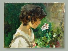 Joaquin Sorolla Portrait of a Young Girl with Flowers