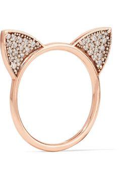 Aamaya By Priyanka | Cat Ears rose gold-plated topaz ring | NET-A-PORTER.COM