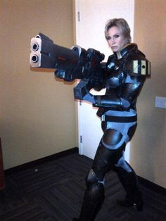 Jane Lynch, voice of Calhoun in Wreck-It Ralph, cosplaying her character. This is great.