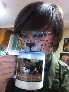 Here is the link for my ancient Spotty Cat Makeup Tutorial thing! witticaster It is from a while ago and I have done away with the celery method in lieu of gel eyeliner pencils. Cat Makeup Tutorial, Gel Eyeliner Pencil, Punctuation, Good Times, Mugs, Tumblers, Mug, Cups