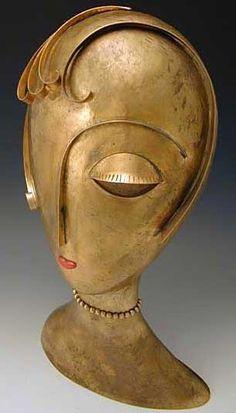 Buste Stylisé 'Femme Art Déco' - Laiton - Franz Hagenauer - Autriche - Vers 1950 (2)