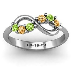 Split Infinity Ring. I so want this for my anniversary next year! (I even put in mine and hubby's birthstones and wedding date to see how it looks)