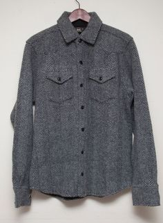 NWT Ralph Lauren RRL DOUBLE RL Gray Herringbone Wool Pocket Sweater Shirt L #RalphLauren #Shirt