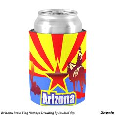 Arizona State Flag Vintage Drawing Can Cooler