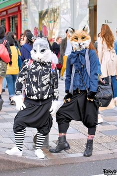 Harajuku Usagi & Kitsune w/ Sarueru Pants & Resale Fashion (Tokyo Fashion, Japanese Streets, Japanese Street Fashion, Tokyo Fashion, Harajuku Fashion, Kawaii Fashion, Fashion Art, Fashion Design, Harajuku Style, Fashion 2015