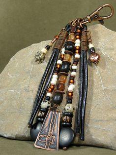 Purse Charm  Zipper Pull  Keychain Tassel  StoneWearDesigns