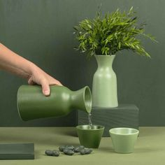 """A really nice handmade set of one carafe et 2 cups. The carafe and one cup in """"olive green"""" and a matching cup in """"juniper green"""". It is all handmade Less Is More, Carafe, True Colors, Really Cool Stuff, Olive Green, Planter Pots, Handmade, Weed, Cups"""