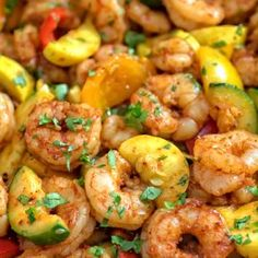 This Easy Shrimp Skillet makes a healthy quick and delicious dinner Packed with shrimp zucchini and sweet bell peppers it is going to become your favorite seafood dish Fish Recipes, Seafood Recipes, Gourmet Recipes, Chicken Recipes, Cooking Recipes, Healthy Recipes, Health Shrimp Recipes, Keto Recipes, Cream Recipes